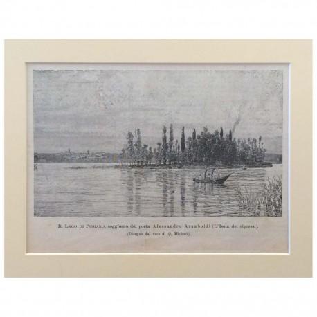 Stampa antica Il Lago di Pusiano soggiorno del poeta Alessando Arnaboldi