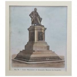 Stampa antica Lecco: monumento ad Alessandro Manzoni