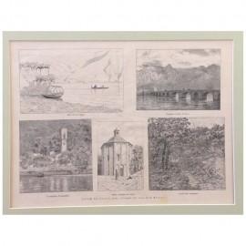 Stampa antica Vedute del Lago di Como