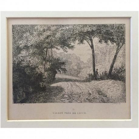 Stampa antica Vallon pres de Lecco 1855