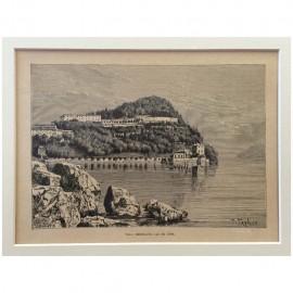 Stampa antica Villa Serbelloni, lac de Come