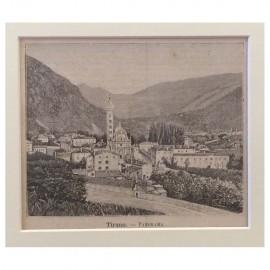 Stampa antica Tirano -Panorama ( Valtellina )
