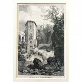 Stampa antica The ravine of the Pioverna, near Bellano 1876