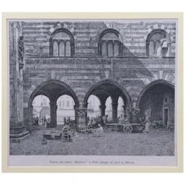 Stampa antica Portici dell'antico Broletto di Como