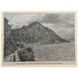 Stampa antica Lago di Como -Sasso Rancio presso Nobiallo