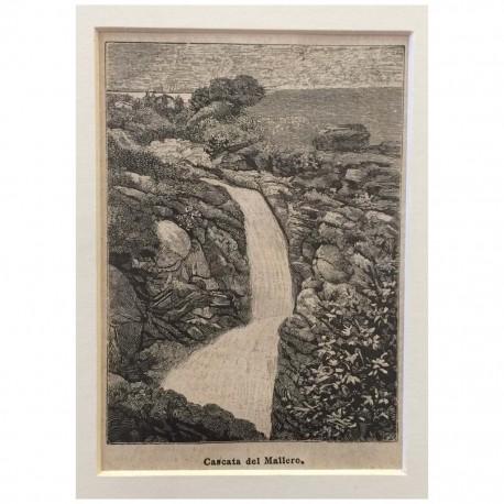 Stampa antica Cascata del Mallero ( Valtellina )
