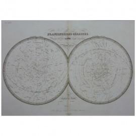 Stampa antica  Planisfero Celeste Parigi 1828