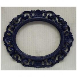 0020  cornice ovale intagliata in legno laccata blu