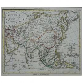 Stampa antica  Carte d' Asie  William Guthrie 1803