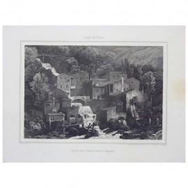 """Stampa antica """"Caduta del Fiume Latte a Varenna 1850"""