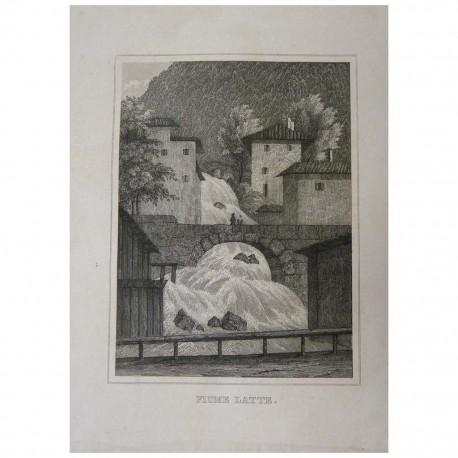 Stampa antica  Fiume Latte a Varenna 1845