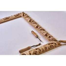 cornice intaglio in legno grezzo artigianale